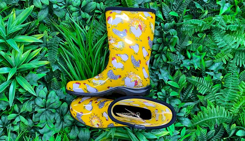sloggers yellow chicken print gumboots