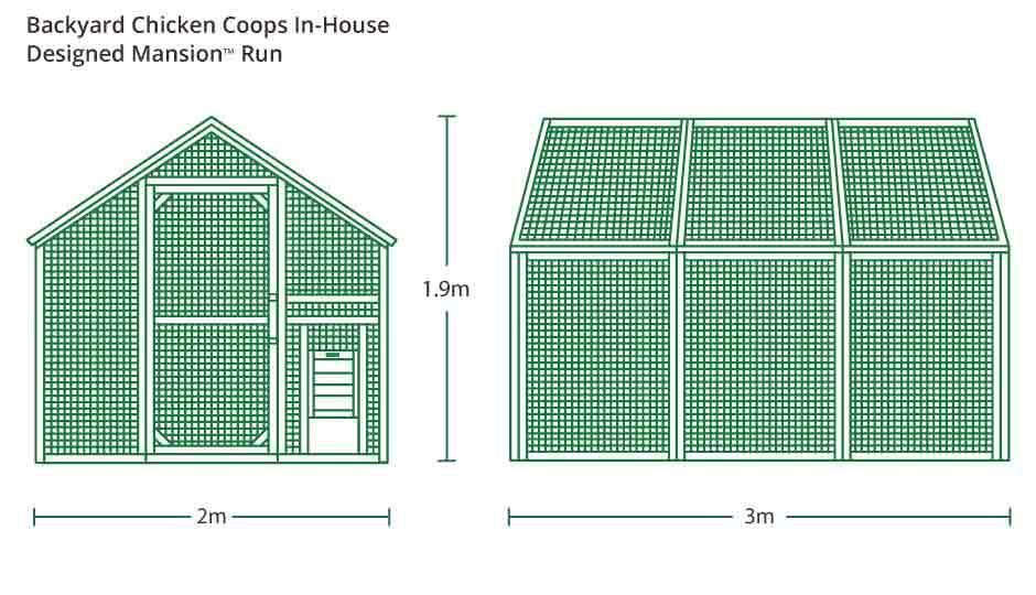 chicken mansion run illustration with measurements